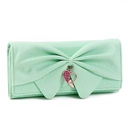 Damara Women Long Faux Leather Bifold Large Bow Design Wallet Handbag (Light green)