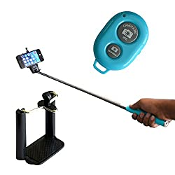 Selfie Stick with Bluetooth Remote Monopod - Blue