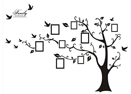 Huge Photo Frame Picture Gallery Floral Tree Vine Branch Removable Wall Decal Sticker – Memory Tree, Multi Size & Color (Pure Black, 6.3ft Left Facing) by Rainbow Fox