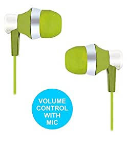 Premium Designer Earbuds 3.5mm With Mic Headset Earphones Compatible For Huawei Honor 3X Pro -Green