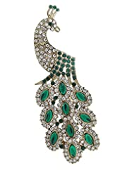 Syonaa Brooch In Peacock Design With Green And White Stones