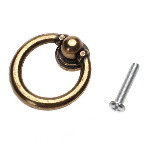 niceeshop(TM) 1 Set(10Pcs) European Style Single Hole Pull Furniture Hardware Ring Drawer Door Pull Knob-Brassy