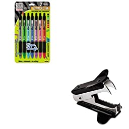 KITUNV00700ZEB22907 - Value Kit - Zebra Pen Z-Grip Neon Ballpoint Retractable Pen (ZEB22907) and Universal Jaw Style Staple Remover (UNV00700)