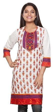 Rangmanch Womens Indian Ethnic Kurta Tunic Floral Embroidered Neck Yoke Orange Small
