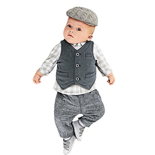 Urparcel Newborn Baby Boys Waistcoat Pants Shirts Clothing Sets Suits Gentleman