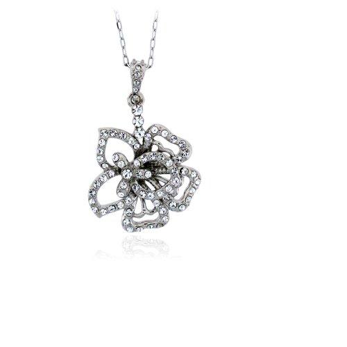 Swarovski Element Sterling Silver Clear Crystal Flower Pendant Necklace