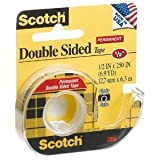 3M  Double-Sided Tape with Dispenser, Permanent, 1/2 X 250 Inches, Clear (MMM136)