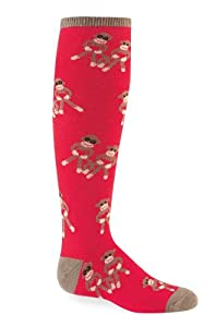 Sock It To Me SOCK MONKEY Youth Knee Socks , Fits Children Approximately 4-7 Years