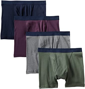 Fruit of the Loom Men's Premium Low Rise Boxer Brief Pack of 4, Assorted Colors, Large