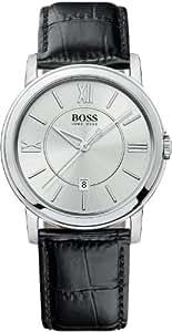 Hugo Boss - 1512417 - Montre Homme - Quartz Analogique - Cadran Argent - Bracelet Cuir Noir