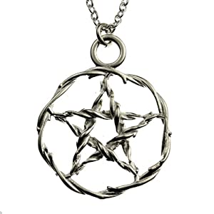 Pentacle Silver-dipped Pendant Necklace on 18