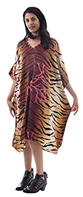 Sante Classics Women's Poly Satin Caftan Dress / Cover up Tiger Coral One Size