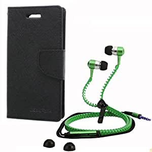 Aart Fancy Wallet Dairy Jeans Flip Case Cover for LenovoA-6000 (Black) + Zipper Earphones/Hands free With Mic *Stylish Design* for all Mobiles- computers & laptops By Aart Store.