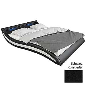 polster bett 140x200 cm schwarz wei aus kunstleder mit blauer led beleuchtung accentox das. Black Bedroom Furniture Sets. Home Design Ideas
