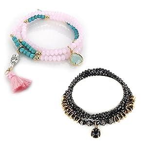 Menton Ezil 2 Pack Retro Crystal Stone Couple Friends Wrap Elastic Bracelet Necklace