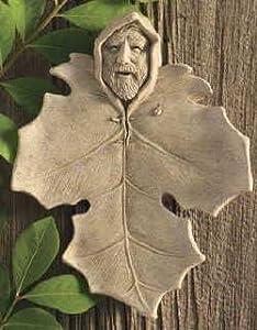 "FOREST SPIRIT 7.5"" Cast Concrete GREENMAN Wall Plaque GARDEN DECOR"