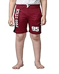 Punkster Maroon Cotton Shorts For Boys