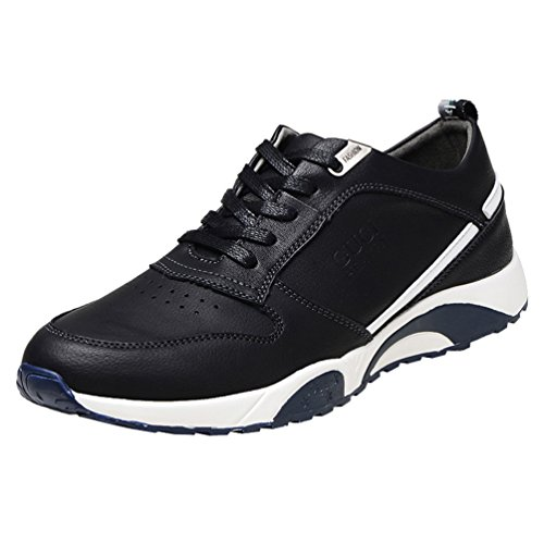 Passionow Men's Lace-up Microfiber Upper Athletic Running Shoes (8 B(M)US,black)