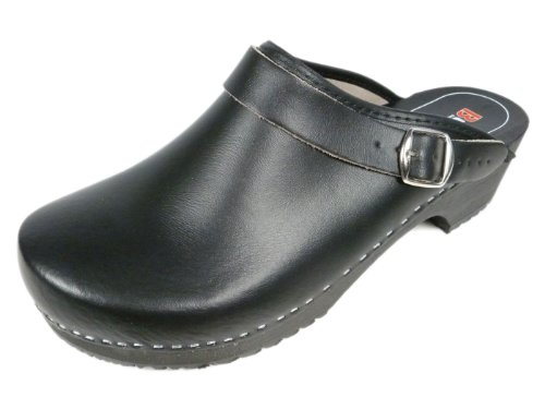 Men's/Women's Unisex Natural Leather/Wooden Clogs with Buckle/Back Strap in Black