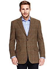 Sartorial Luxury Pure New Wool 2 Button Multi Checked Jacket