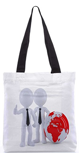 Snoogg Business People Standing In Front Of The Globe Business Concept Designer Poly Canvas Tote Bag