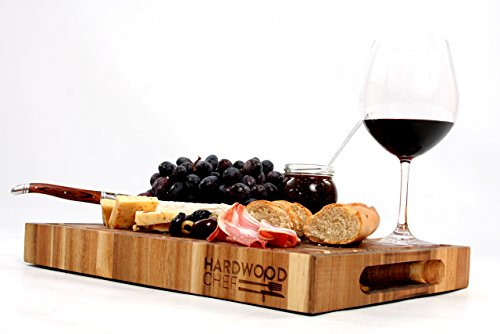 Hardwood Chef Thick End Grain Acacia Wood Butcher Block Cutting Board and Serving Platter with Groove, 16 x 12 x