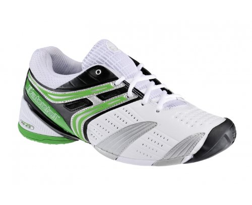 BABOLAT V-Pro Omni Men's Tennis Shoes, White/Black/Silver/Green, UK12.5