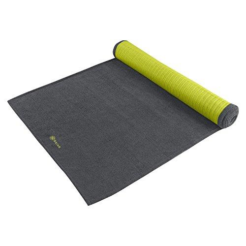 Gaiam Grippy Yoga Mat Towel, Granite Storm/Citron