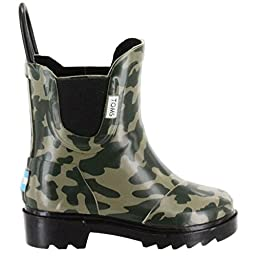 Toms Tiny Toddlers Rain Boots in Camo Rubber 10