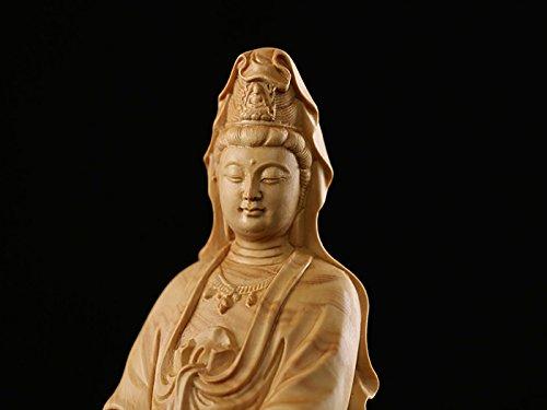 YYfashion [金品木彫] 風水 仏像 ツゲの木彫り 観音 木製彫刻 〔サイズ:12/16/22cm〕