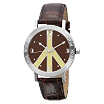 Love Peace and Hope Midsize LPE121 Time for Peace Brown Leather Watch