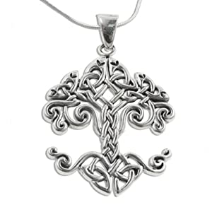 large celtic knot tree of life sterling silver pendant