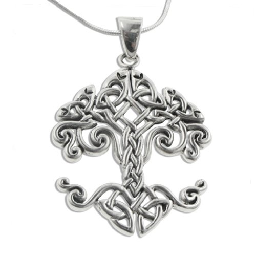 Large Celtic Knot Tree of Life Sterling Silver Pendant 18