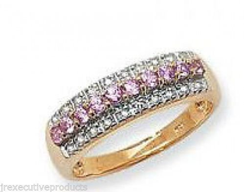 9ct Gold Real Pink Sapphire & Diamond Eternity Ring (available in sizes J - S )