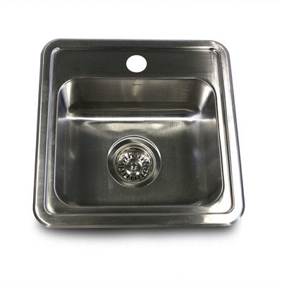 Nantucket Sinks NS1515 15-Inch  Square Self Rimming Stainless Steel Drop in Bar/Prep Sink