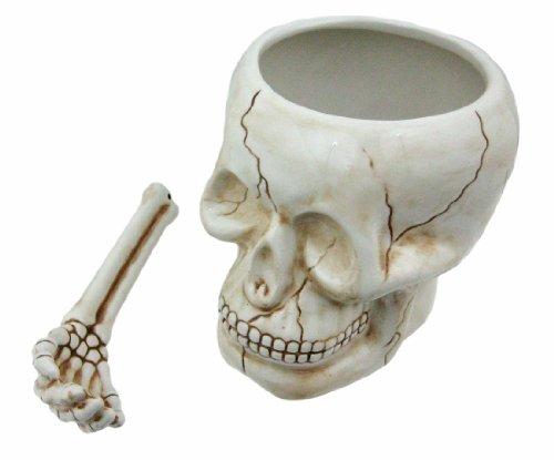 Cool Ceramic Skull Bowl W/ Bone Spoon (Super Bowl Serving Dishes compare prices)