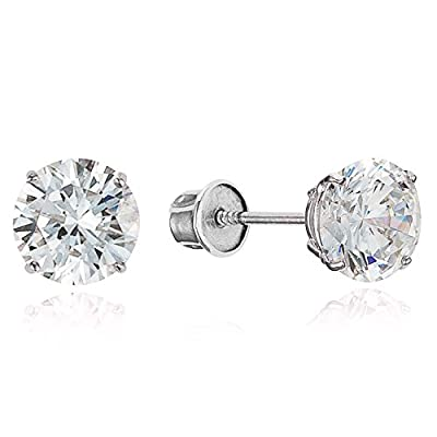 Sterling Silver Rhodium Plated All CZ 4mm Stud Children Screwback Earrings Baby, Toddler & Kids