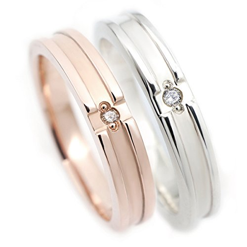 ペアリング 好きなメッセージが刻印できる 天然ダイヤモンド クロスライン 指輪2個セット シルバー925 ピンクシルバー