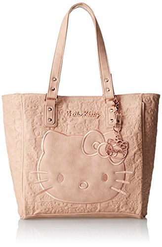 Hello Kitty Blush Embossd Face Satchel Top Handle Bag,Blush,One Size