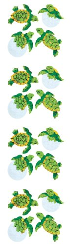 Jillson Roberts Prismatic Stickers, Mini Baby Sea Turtles, 12-Sheet Count (S7304)