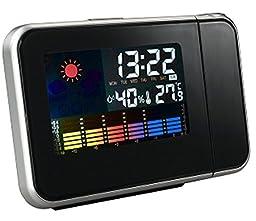 AmaranTeen - Color LED Backlight Digital Weather Projection Alarm Clock