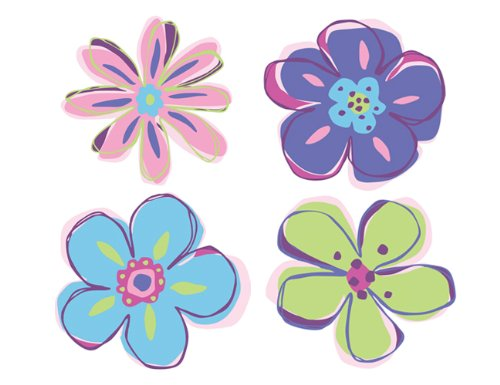 Wallies Wallpaper Cutout, Doodle Flowers