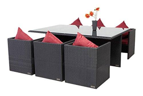 Outflexx Möbel Tisch inklusive 6 unterschiebbare Stühl Polyrattan w1, schwarz