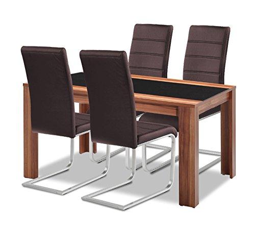 Agionda Esstisch + Stuhlset : 1 x Esstisch Orlando + 4 Freischwinger braun