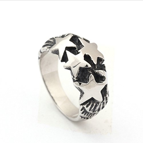 [Men's 316L Stainless Steel Casting Stars Ring Silver Gothic Vintage Biker Size 8] (Lion Costume Philippines)