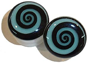 Hypnotic Swirl - Glow in the Dark - Acrylic Plugs - 00 gauge - Pair
