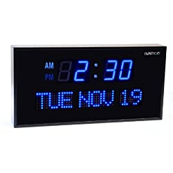 Ivation Big Oversized Digital Blue LED Calendar Clock with Day and Date - Shelf or Wall Mount(22 inches - Blue LED)