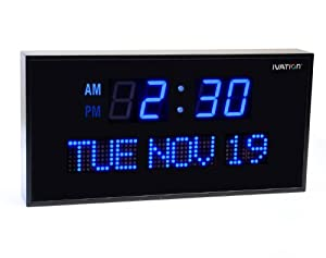Ivation Big Oversized Digital Blue LED Calendar Clock with Day and Date - Shelf or Wall Mount (22 Inch - Blue)