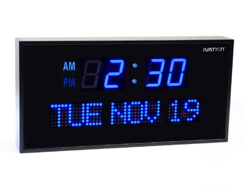 Ivation Big Oversized Digital Blue LED Calendar Clock with Day and Date - Shelf or Wall Mount (12 Inch - Blue)