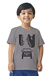 Mintees 100% Combed Cotton Boy's Graphic Print Grey Melange Colour Tshirt MBRNT03-003_6-7Yrs